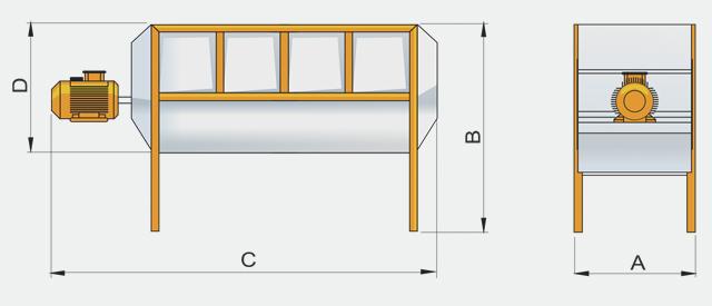 Оборудование для заводов по производству комбикорма. Горизонтальная мешалка (миксер)