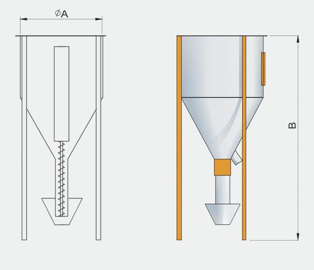 Схема вертикальной мешалки / миксера для комбикормового завода. Комбикормовое оборудование.
